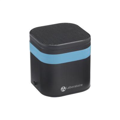 malý přenosný speaker s firemním potiskem