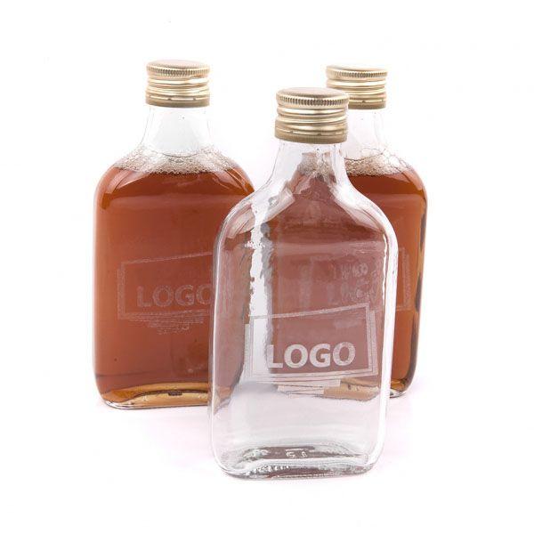 Skleněná placatka, butylka, plaskoč s Vaším logem
