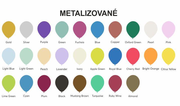 Barvy balonků - metalizované